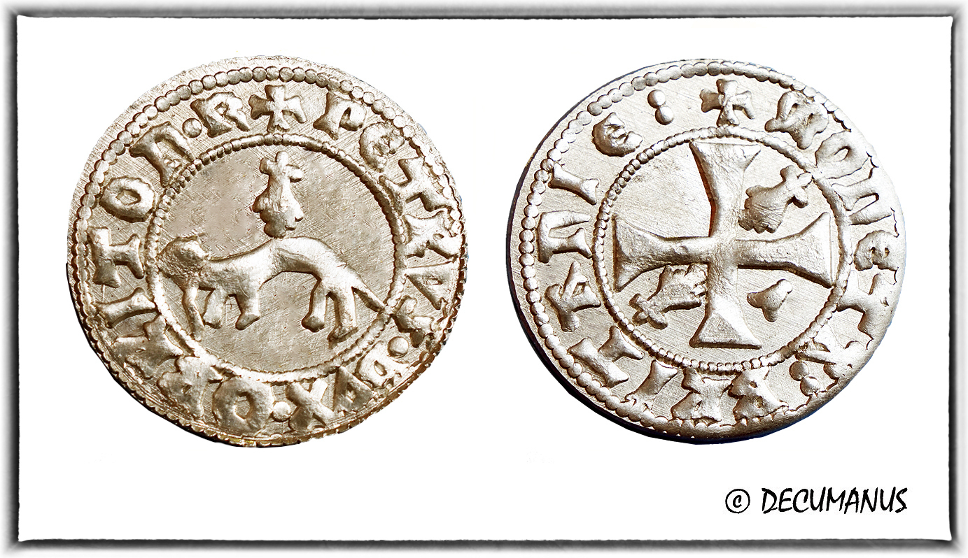 DOUBLE DENIER OF PETER II (1450-1457) - REPRODUCTION OF LOW MIDDLE AGE